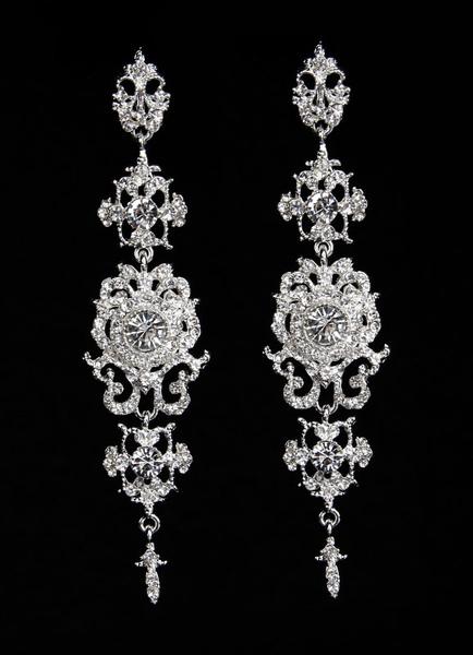 Silver Wedding Earrings Alloy Rhinestone Bridal Drop Earrings