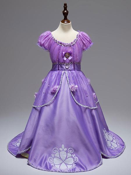halloween princess sofia kids' cosplay costume disney cartoon tangled purple tulle dress halloween