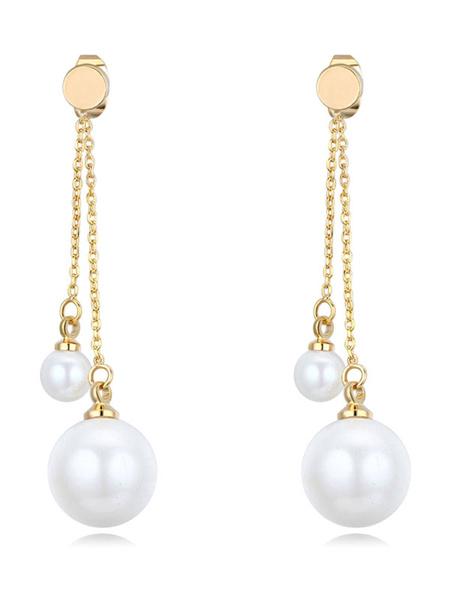 Pearl Bridal Earrings Wedding Gold Double Drop Earrings