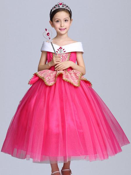 princess aurora costume halloween kids cosplay dress sleeping beauty disney rose little girls dresses