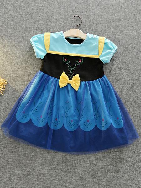 cosplay disney princess series children's  short sleeve princess dress anna snow white high-end dress skirt halloween performance costume