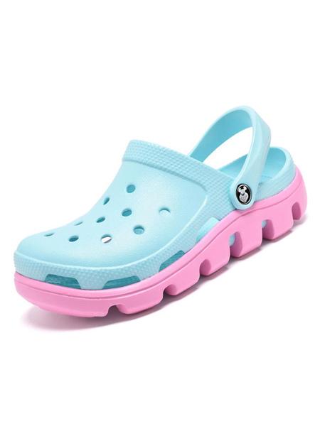 milanoo womens crocs light blue slip-on pu leather round toe breathable daily casual flat sandal