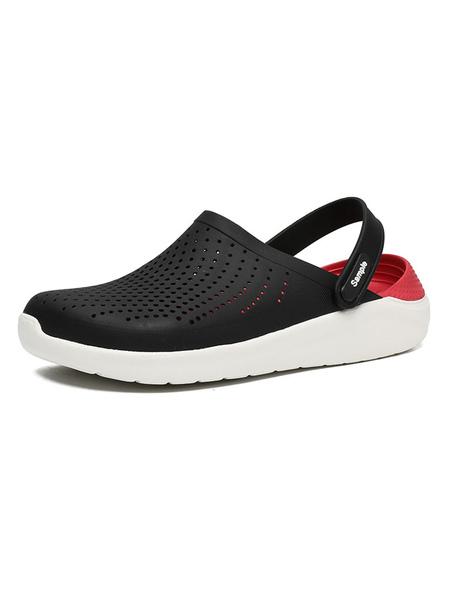 milanoo mens crocs dark blue slip-on pu upper round toe summer daily casual home flat sandal