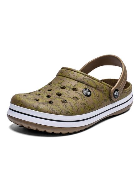 milanoo mens crocs grey slip-on pu upper round toe daily casual flat sandal