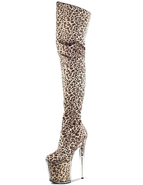 Leopard Print Boots Sky High Platform Suede Heels For Women
